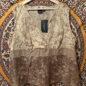 NWT cream and tan floral tank top